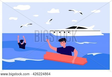 People Shipwrecked Flat Vector Illustration. Two Men Drowning In Open Sea, Holding On To Wooden Boar