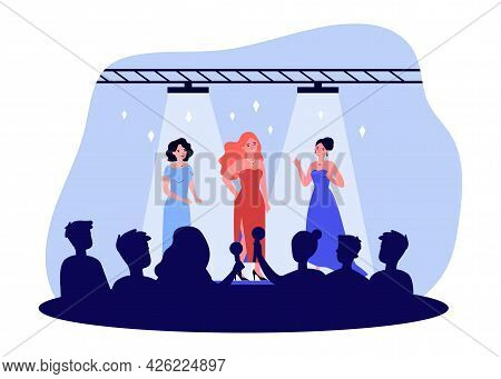 Celebrities Performing On Stage Flat Vector Illustration. Popular Women In Chic Outfits Posing In Fr