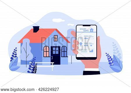 Remote Control Of Smart Home Flat Vector Illustration. Hand Holding Smartphone With App For Controll