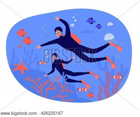 People Going Diving Together Flat Vector Illustration. Man And Woman Exploring Fish, Algae, Corals,