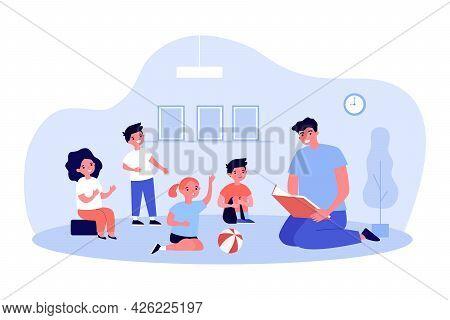 Teacher Reading Book To Group Of Children. Flat Vector Illustration. Kids Sitting On Floor And Liste