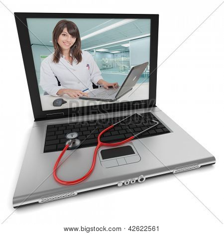 Open laptop with a female health professional on the screen, and a stethoscope on top of the keyboard