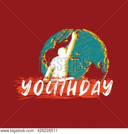 Youth Day Sign With Scratched Style Of A Young And A Globe Silhouette
