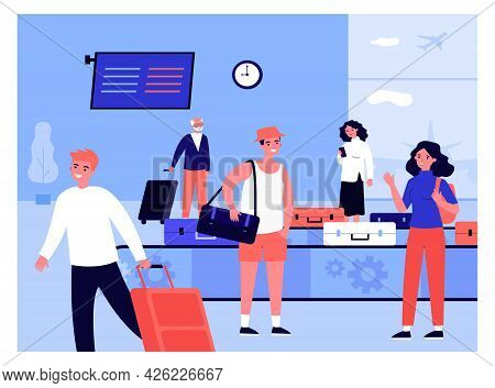 People Arriving At Airport Taking Their Luggage. Flat Vector Illustration. Women, Men, Tourists Wait