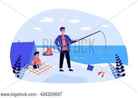 Father Fishing On Beach With His Little Son. Flat Vector Illustration. Young Man And Boy Spending Ti