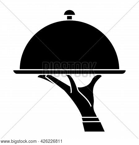Elegant Waiter Hand Holding Silver Serving Tray With Lid Cover Cloche For Food. Vector Flat Silhouet