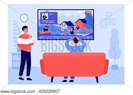 Young People Watching News Report About Emergency. Flat Vector Illustration. Men Watching Tv, Live B