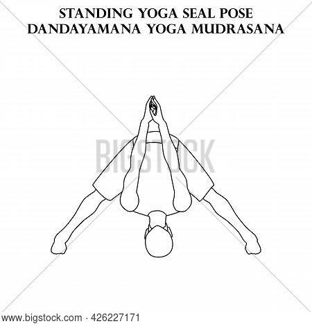 Standing Yoga Seal Pose Yoga Workout. Dandayanma Yoga Mudrasana. Man Doing Yoga Illustration Outline