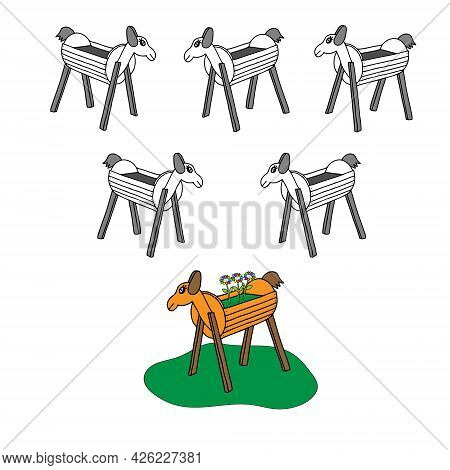 A Beautiful Hand-drawn Orange Vector Illustration Of One Toy Wooden Horse With Flowers And A Group O