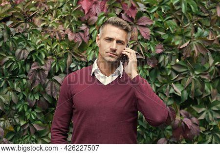 Sexy Man With Bristle Speak On Phone, Conversation