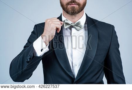 Cropped Bearded Businessman With Bristle. Male Beauty And Fashion. Menswear And Formalwear.