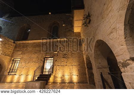 Exterior View Of The Ancient Cave Where The Famous Tomb Of King David Is Located In The Old City Of