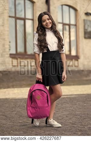 Stylish Clothes, Stylish Life. Happy Kid Wear Uniform Outdoors. School Style. Formal Education. Scho