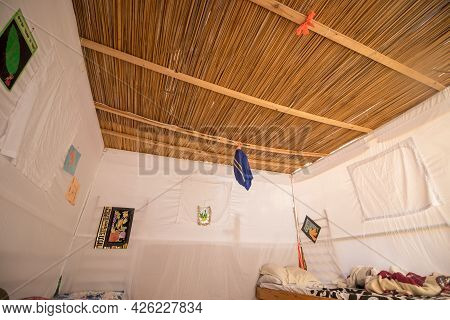 Jerusalem-israel, 04-10-2020. The Inside Of A Sukkah Is Covered With A White Sheet In Jerusalem
