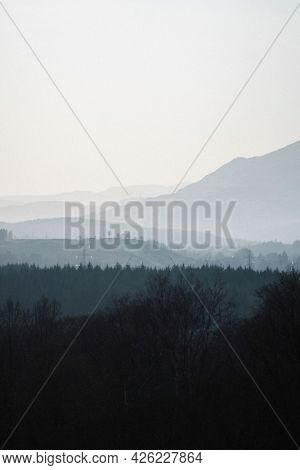 Misty view of Glen Coe in Scotland