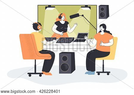 Sound Production In Studio Flat Vector Illustration. Woman With Earphones Singing Into Mic In Vocal