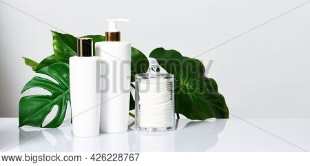 Arrangement of cleansing skin products with leaves