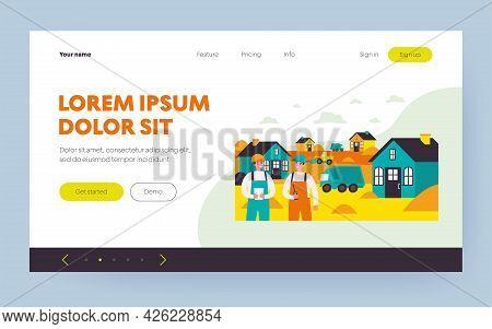 Professional Builders Constructing Houses. Car, Engineer, Site Flat Vector Illustration. Constructio