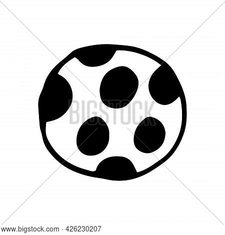 Ball Icon. Hand Drawn Doodle. Vector, Scandinavian, Nordic, Minimalism, Monochrome Toy For Children