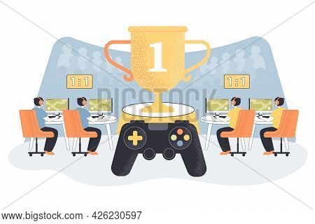 Competition In Computer Games Flat Vector Illustration. Two Teams Of Players Sitting In Front Of Com
