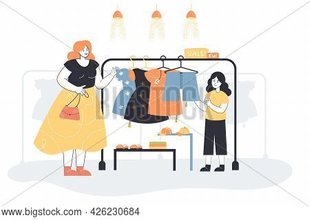 Mom And Daughter Choosing Clothes On Sale. Flat Vector Illustration. Woman And Little Girl Buying Dr