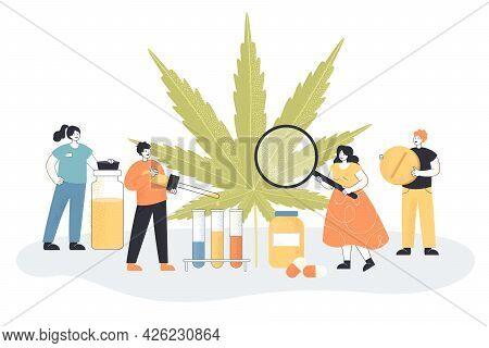 Huge Leaf Of Hemp And Tiny Chemists. Flat Vector Illustration. Extracting Substances, Making Medicin