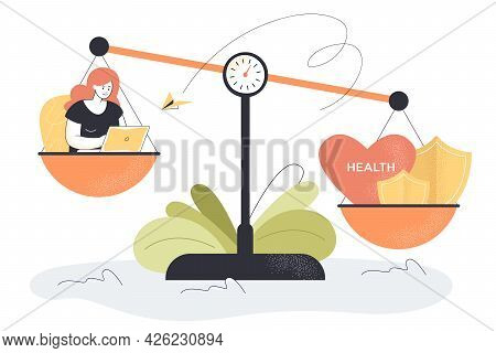 Health Care And Career On Scales. Flat Vector Illustration. Unbalanced Life Of Exhausted Employee Wo