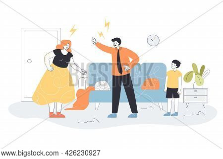 Angry Father And Mother Arguing In Front Of Crying Son. Wife And Husband Screaming At Home Flat Vect