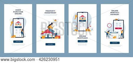 Property, Mortgage Concepts Set. House Buying Online, Monthly Payment, Real Estate Investment, Digit