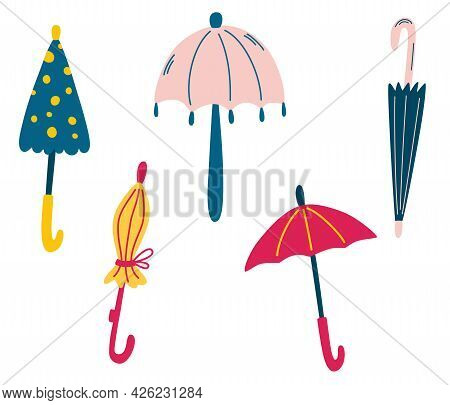 Set Of Cute Umbrellas. Rainy Weather. Stylish Autumn. Different Funny Colored Closed And Open Umbrel