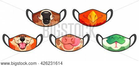 Medic Masks With Animal Muzzles, Cute Cartoon Cow, Bull And Eagle Or Fox And Snake Funny Faces. Prot