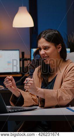 Joyful Successful Businesswoman Enjoying While Looking At Laptop Computer Display Receiving Company