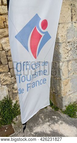 Albi , Ocitanie France  - 06 30 2021 : Office De Tourisme In France Sign And Logo Text On Flag Of Fr