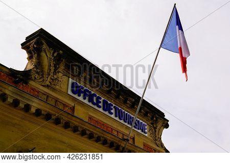 Montpellier , Ocitanie France  - 06 30 2021 : Office De Tourisme Logo Text And Sign Flag Tricolor Fr
