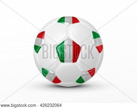 Soccer Ball With The Italy National Flag Isolated On White Background. Isolated On White. Realistic