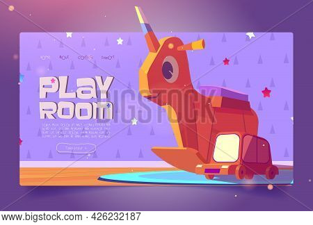 Play Room Cartoon Landing Page With Kids Wooden Toys Rocking Unicorn And Car On Cute Baby Wallpaper