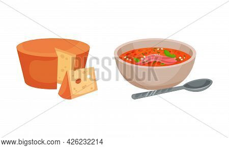 Spain Attributes With Gazpacho Soup In Bowl And Cheese Slab Vector Set