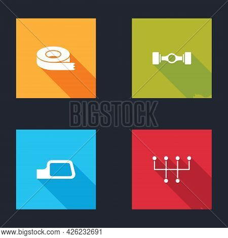 Set Scotch Tape, Chassis Car, Car Mirror And Gear Shifter Icon. Vector