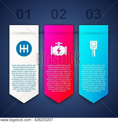 Set Gear Shifter, Check Engine And Car Key With Remote. Business Infographic Template. Vector