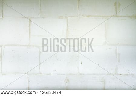 A Wall Made Of White Gypsum Partition Blocks, An Interior Partition.