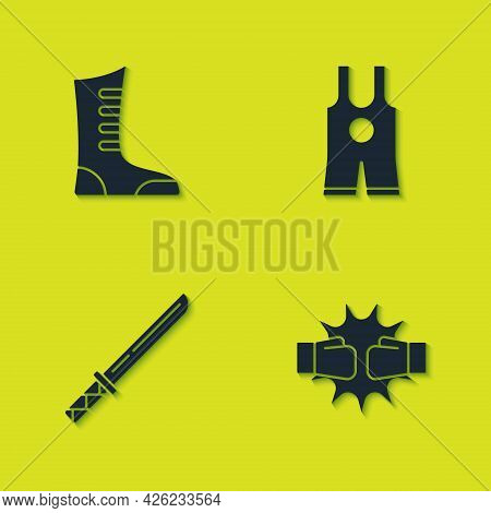 Set Sport Boxing Shoes, Punch Gloves, Japanese Katana And Wrestling Singlet Icon. Vector