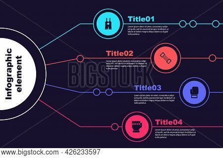 Set Wrestling Singlet, Chest Expander, Boxing Glove And Mma. Business Infographic Template. Vector