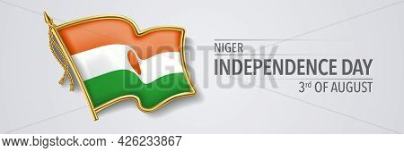 Niger Happy Independence Day Greeting Card, Banner With Template Text Vector Illustration