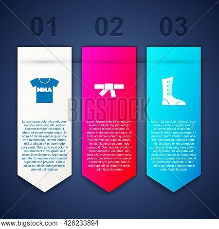 Set T-shirt With Fight Club Mma, Black Karate Belt And Sport Boxing Shoes. Business Infographic Temp