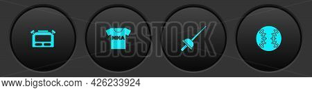 Set Stopwatch, T-shirt With Fight Club Mma, Fencing And Baseball Ball Icon. Vector