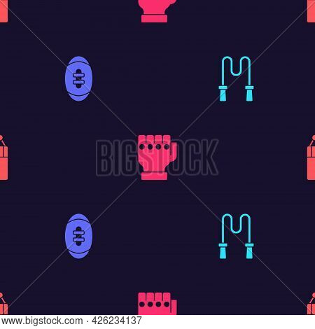 Set Jump Rope, American Football Ball, Mma Glove And Punching Bag On Seamless Pattern. Vector