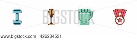 Set Dumbbell, Punching Bag, Mma Glove And Medal Icon. Vector