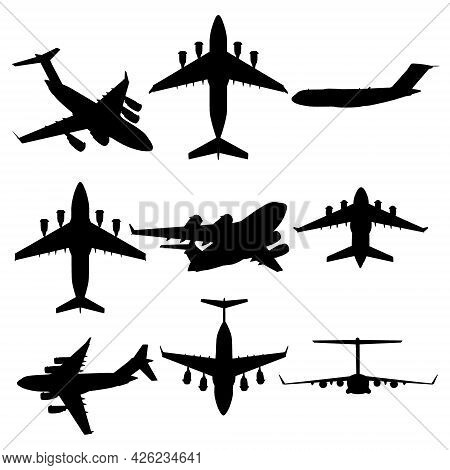 Set With Airplane Silhouettes In Different Positions Isolated On White Background. Vector Illustrati