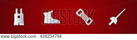 Set Wrestling Singlet, Sport Boxing Shoes, Chest Expander And Fencing Icon. Vector