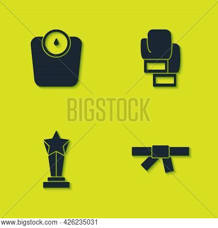 Set Bathroom Scales, Black Karate Belt, Award Cup And Boxing Glove Icon. Vector